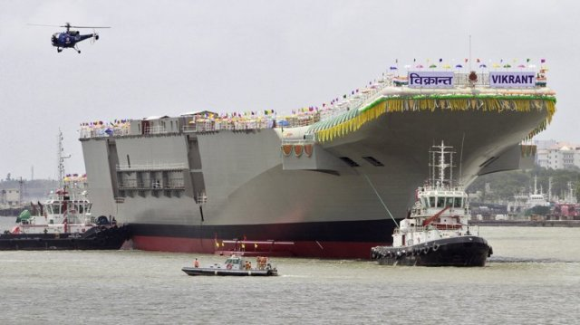 Launch of Indian Aircraft Carrier Vikram