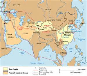 Eurasian Map Featuring the Tang Dynasty of China and the Abbasid Caliphate---Battle of Talas at Center