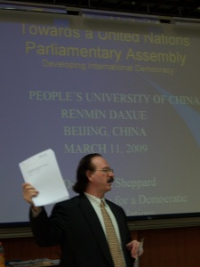 Robert Sheppard---20 Year Veteran Foreign Expert in China----Giving a Public Lecture at China People's University on the Concept of a United Nations Parliamentary Assembly