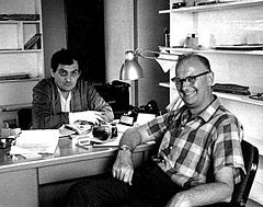 Arthur C. Clarke with Director Stanley Kubrick at the Making of 2001: A Space Odyssey