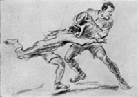 Luxembourg Olympic Artist Jean Jacoby is the only Artist to win two Olympic Gold Art Medals. He won his second with the above drawing, titled Rugby at the 1928 Olympic Games
